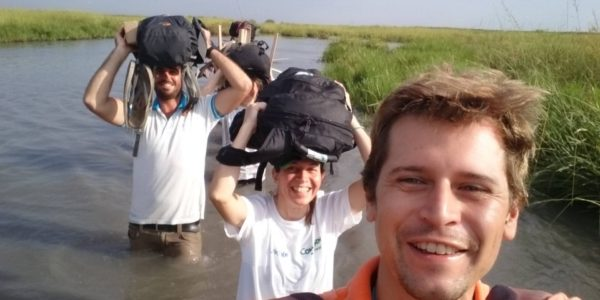 Marnix together with his colleagues from Oxam Novib and Concern on their way to Kok