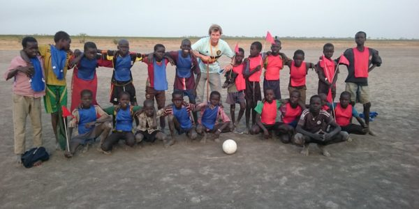 Playing football with the kids in  Thonyor, Leer County